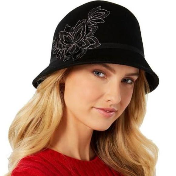 Nine West Women/'s Black Floral Bucket Hat Cap Fashion One Size New NWT